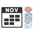 November Calendar Grid Flat Icon With Bonus vector image vector image