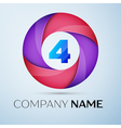 Number four logo symbol in the colorful circle vector image vector image
