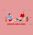 online education website landing page women vector image