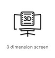 outline 3 dimension screen icon isolated black vector image vector image