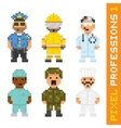 Pixel art style professions set 1 vector image vector image