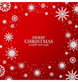 Red Christmas background with white snowflakes vector image