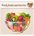 Salad with fresh fruits and berries vector image vector image