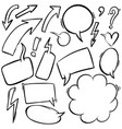set hand drawn comic style speech bubbles and vector image vector image
