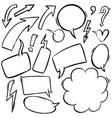 set hand drawn comic style speech bubbles vector image
