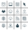 set of 16 internet icons includes virtual storage vector image vector image