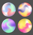 set of color holographic circles design vector image