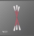 set of realistic cotton buds cotton swabs for vector image vector image