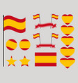 spain flag set collection of symbols heart vector image vector image