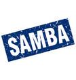 square grunge blue samba stamp vector image vector image