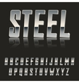 Steel Chrome letters typeface made of steel modern vector image vector image