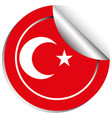 sticker design for turkey flag vector image vector image