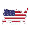 united states of america map with flag north vector image vector image
