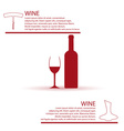 wine bottle and glass simple red infographics vector image