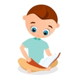 Young boy reading a book sitting on the floor vector image vector image