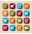 shopping basket long shadows icons vector image