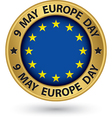 9 may Europe day gold label vector image