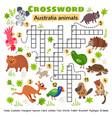 australia animals crossword game for little kids vector image vector image
