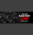 black friday sale dark banner with balloons vector image vector image