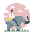 businessman riding paper elephant vector image