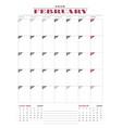 Calendar planner template for 2018 year february