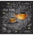 card with cup pot herb and text Tea Time vector image vector image