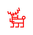 cartoon deer marker style red vector image