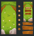 cartoon forest mobile game background and cui vector image vector image