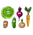 Cartoon fresh vegetables set vector image vector image