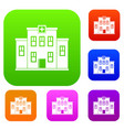 city hospital building set color collection vector image