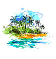 Colored hand sketch coast with palm trees vector image vector image