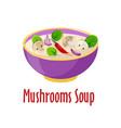 cream mushroom soup icon tasty dish in vector image