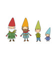 cute cartoon gnomes new year set christmas funny vector image vector image