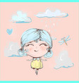 cute happy girl flying under rain in clouds and vector image