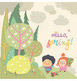 cute kids running in spring forest hello spring vector image vector image