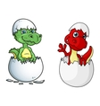 Cute little dinosaurs characters out of eggs vector image vector image