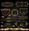 dark gold-framed decorative design elements vector image vector image