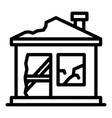destroyed home icon outline style vector image vector image