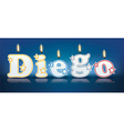 DIEGO written with burning candles vector image vector image