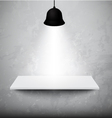 empty white shelf hanging on concrete wall vector image