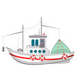fishing boat icon travel vessel on sea ocean vector image vector image