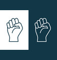 fist hand power logo protest strong fist raised vector image vector image