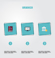 flat icons book bank accounting system and other vector image vector image