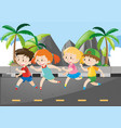 four children running on the road vector image vector image