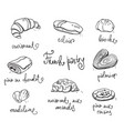 french pastry traditional baked desserts vector image