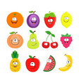 funny cartoon set of different fruits smiling vector image vector image