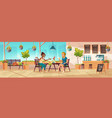 girls seating on cafe terrace or balcony vector image vector image