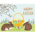 happy easter spring landscape forest rabbits vector image