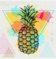 hipster realistic tropic fruit pineapple vector image