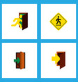 icon flat emergency set of evacuation road sign vector image vector image
